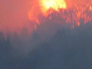 Las llamas en Caranga se han acercado a la carretera. Foto Txuma Abarzuza