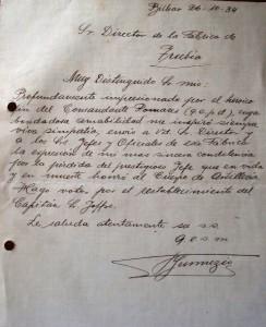 Una emotiva carta de 1934